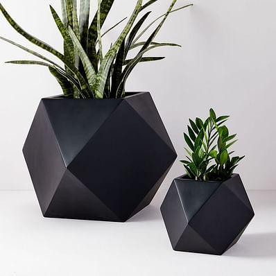Faceted Modern Indoor/Outdoor Fiberstone Planters - Black