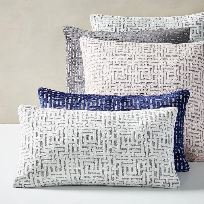 Allover Crosshatch Jacquard Velvet Pillow Covers, Nightshade