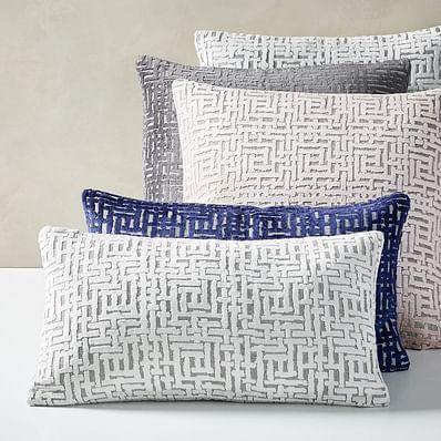 Allover Crosshatch Jacquard Velvet Pillow Covers, Stone White