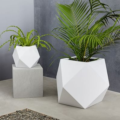 Faceted Modern Indoor/Outdoor Fiberstone Planters - White