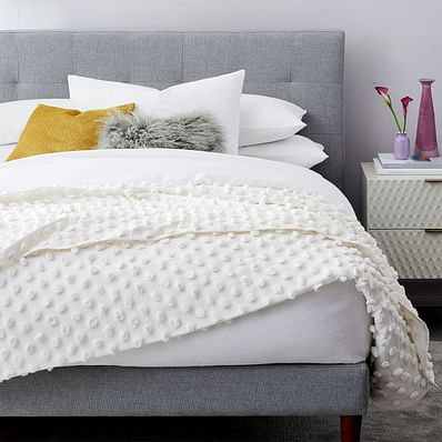 Candlewick End of Bed Blanket, Stone White