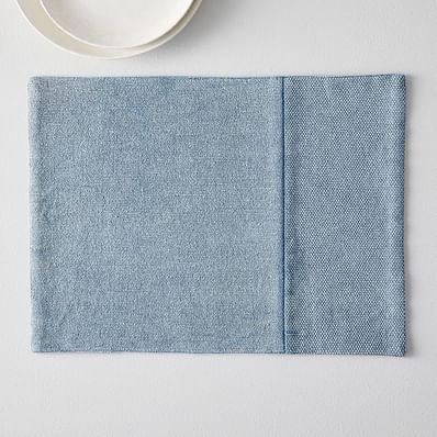Cotton Canvas Placemats, Set of 2, Bluebird