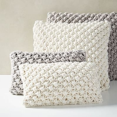 Bobble Knit Pillow Covers, Natural