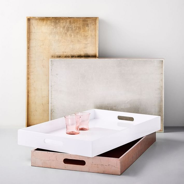 Lacquer Wood Trays - 18x28, White