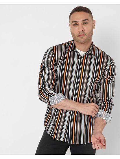 Men's Striped Sir Det Ec In Slim Fit Shirt