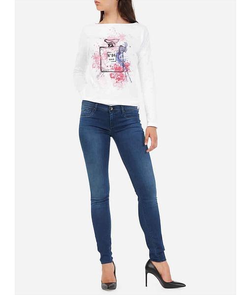 Women's skinny fit indigo mid wash Sumatra jeans
