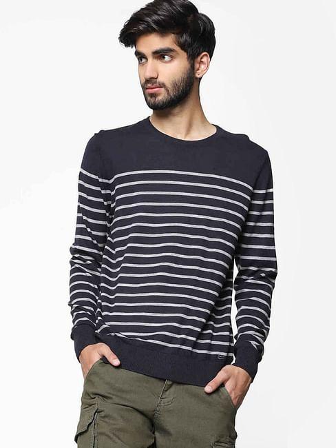 Men's Nikola striped navy blue crew neck sweater