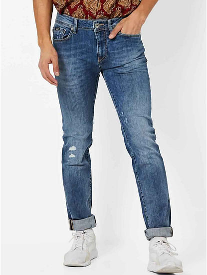 Men's Albert Simple Slim Fit Blue Distressed Jeans