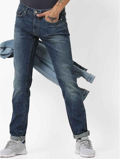 Men's Albert Simple Slim Fit Mid Blue Jeans