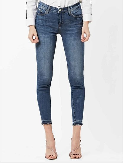 Women's Star mid wash skinny fit jeans