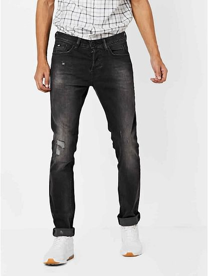 Men's Anders Slim Fit Dark Grey Distressed Jeans