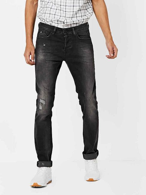 Men's Anders Slim Fit Dark Grey Distressed Jeans