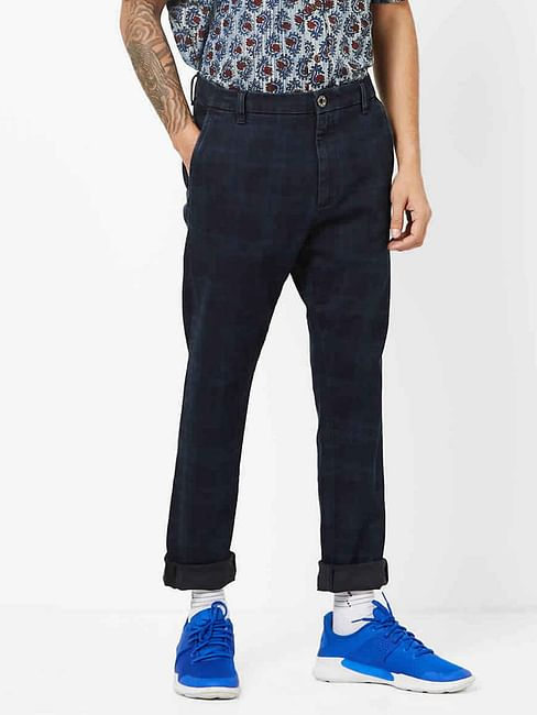 Men's Rush Straight Fit Checked Blue Chino