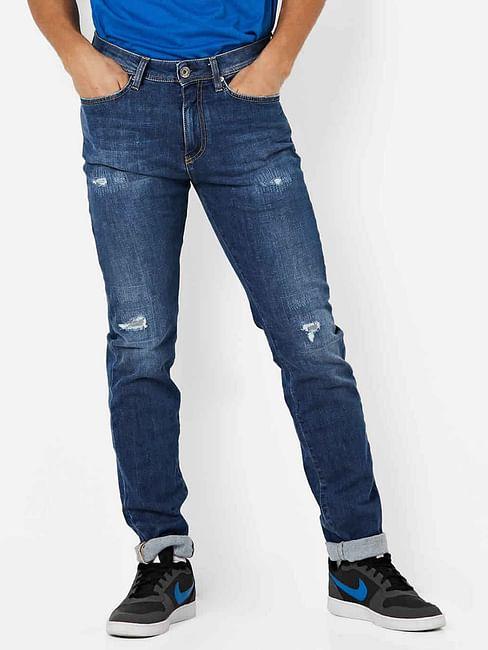 Men's Albert Taylor Slim Fit Mid Blue Distressed Jeans