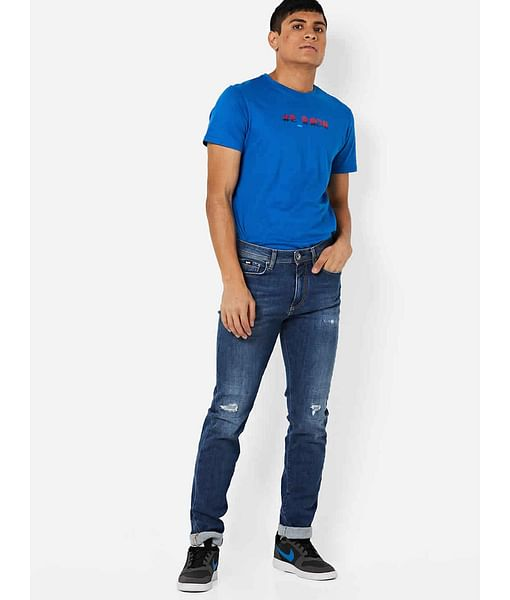 Men's Albert Taylor Slim Fit Mid Blue Distressed Jeans