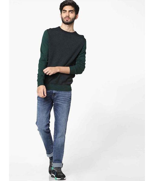 Men's Maurys self design navy blue crew neck sweater