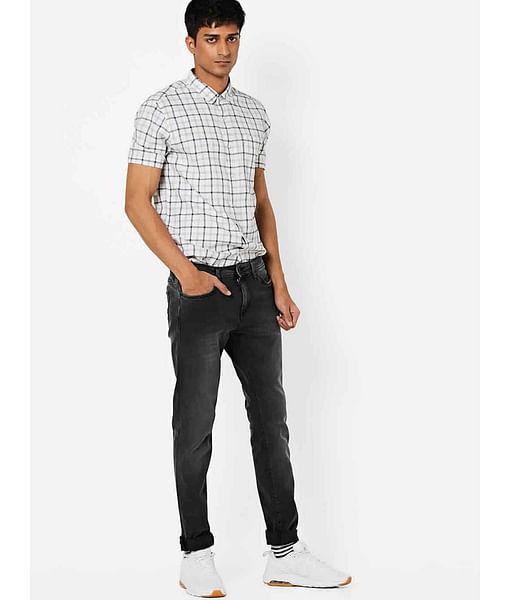 Men's Sax Zip Skinny Fit Dark Grey Jeans