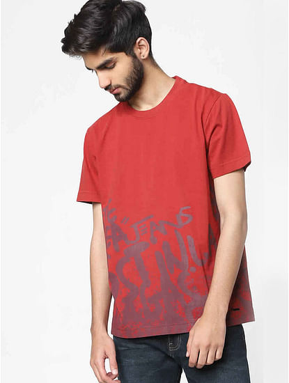 Men's Juby/l written printed crew neck red t-shirt