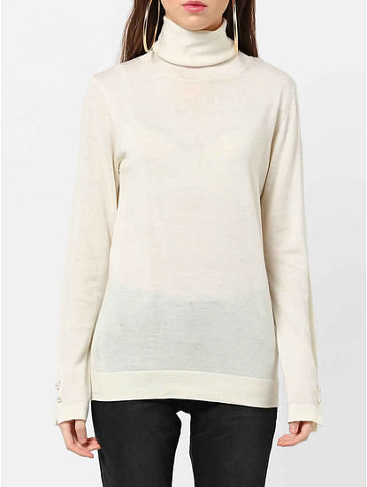Women's regular fit turtle neck long sleeves Sibylla collar top