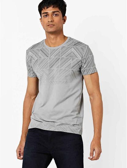 Men's Scuba printed crew neck grey t-shirt