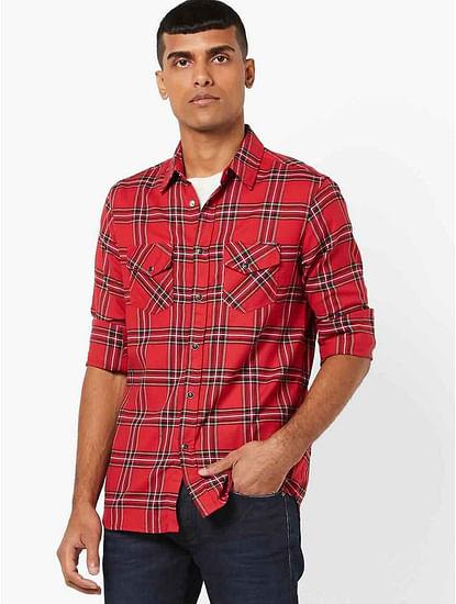 Men's Kant SS red checks shirt