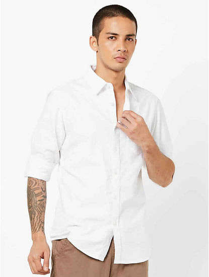 Men's Flix C/8 solid white shirt