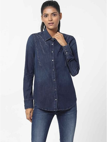Women's regular fit collared full sleeves Marah X Pinces shirt