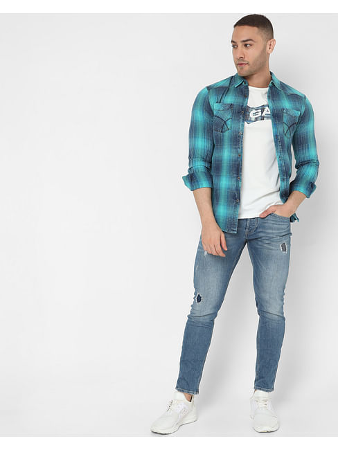 Men's Kant Wf Ec In Slim Fit Checkered shirt