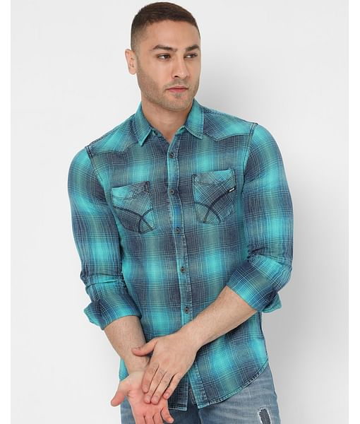 Men's Kant Wf Ec In Slim Fit Checkered shirt
