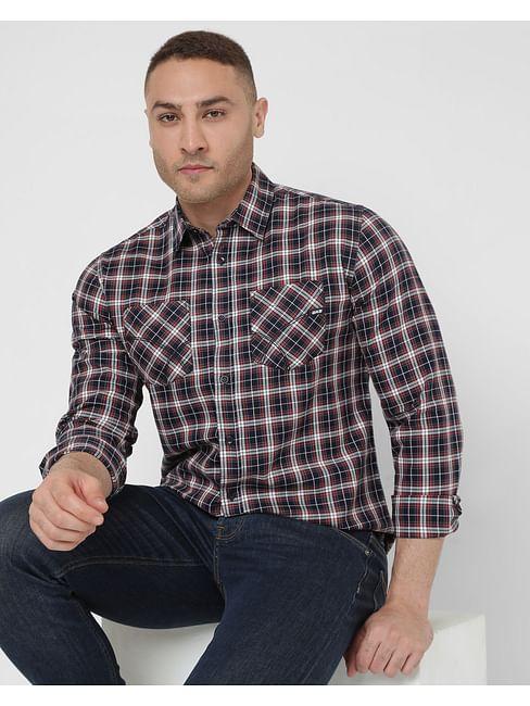 Men's Victor Wf Ec In Slim Fit Checkered shirt
