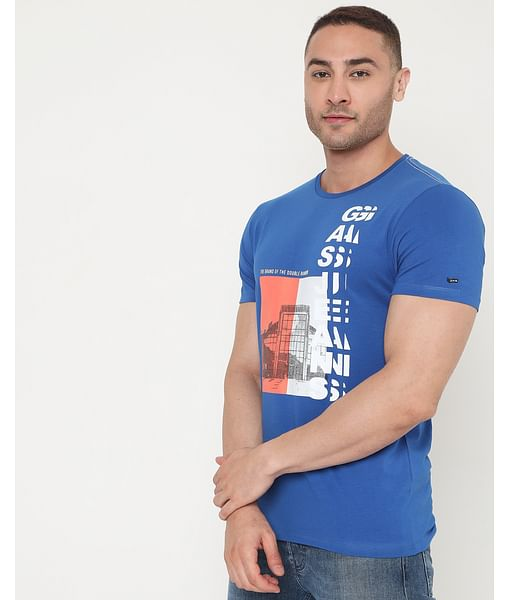 Men's Scuba Hq Ec In Slim Fit Printed Tshirt