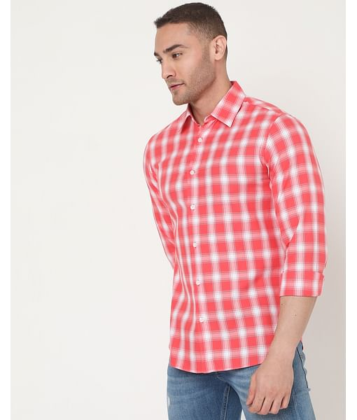 Men's Sir Det Ec In Slim Fit Checkered shirt