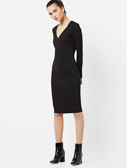 Women's bodycon V neck long sleeves Herike V dress