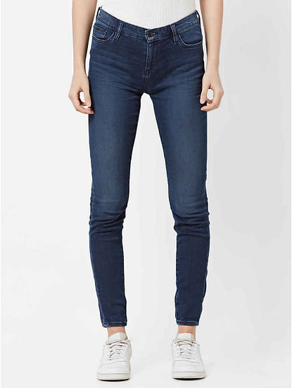 Women's medium wash skinny fit Star motion jeans