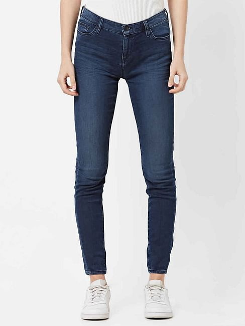 Women's medium wash skinny fit Star motion jeans