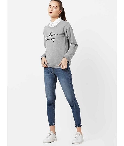 Women's regular fit round neck long sleeves Welly Je T'aime sweatshirt