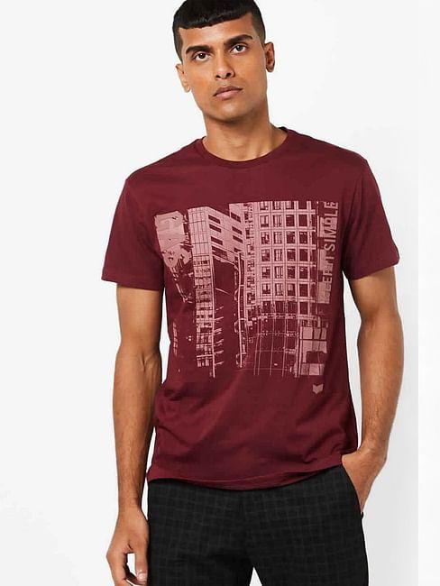 men's scuba/s simple printed crew neck maroon t-shirt