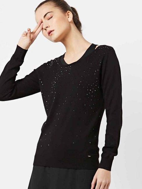 Women's regular fit round neck long sleeve Saska top