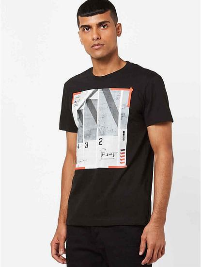 Men's Dasky printed black t-shirt