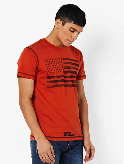 Men's Dasky printed orange t-shirt