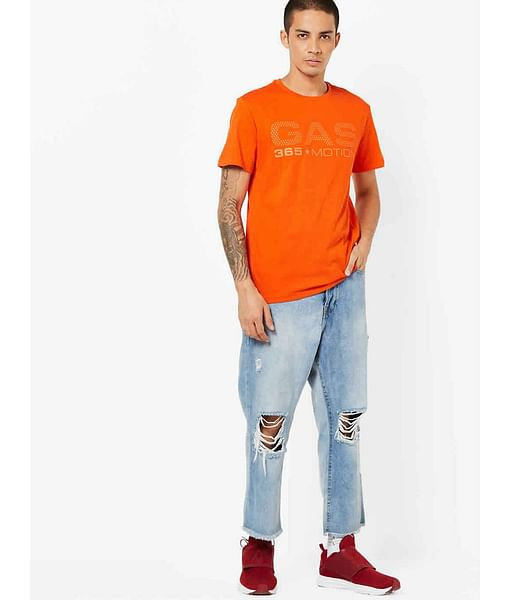 Men's Geryg/s act printed crew neck orange t-shirt
