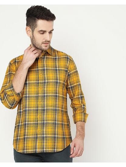 Men's Sir Det Yellow Checked Shirt