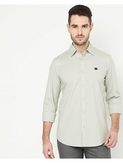 Men's Andrew Grey Solid Poplin Shirt