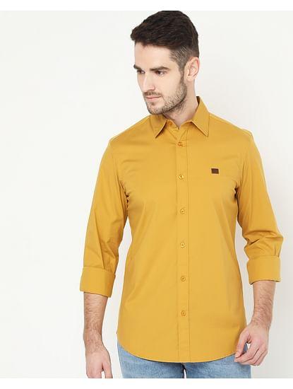 Men's Andrew Mustard Solid Poplin Shirt