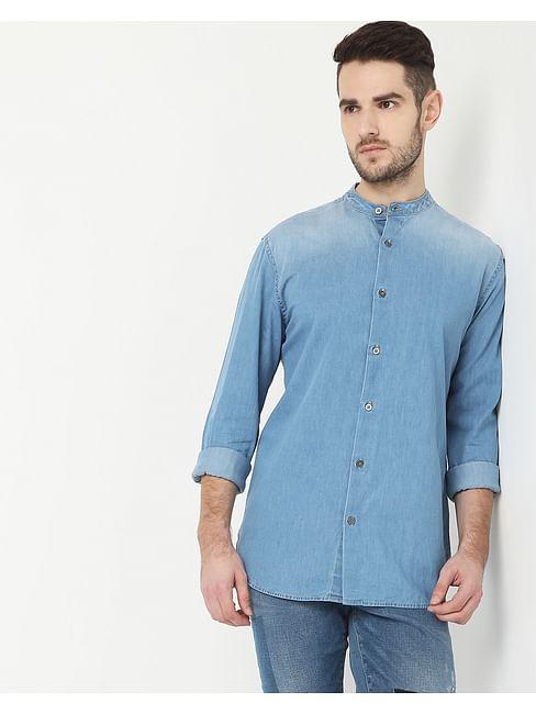Men's Mandarin Collar Light Wash Denim Shirt