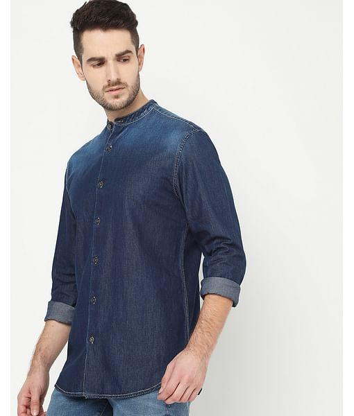 Men's Mandarin Collar Dark Wash Denim Shirt