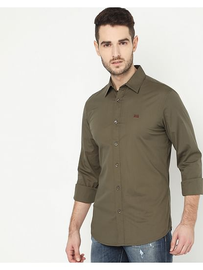 Men's Andrew Olive Solid Poplin Shirt
