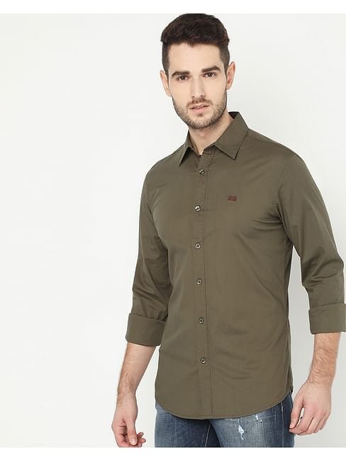 Men's Andrew Olive Solid Poplin Shirt