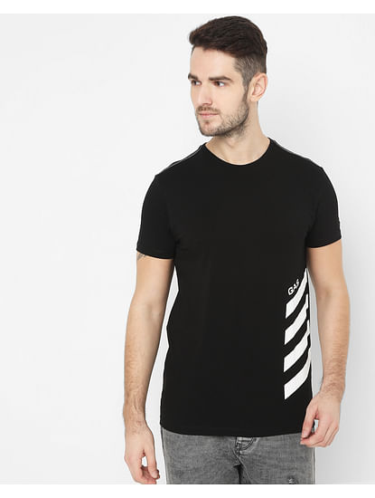Men's Scuba Side Black Crew Neck T-Shirt