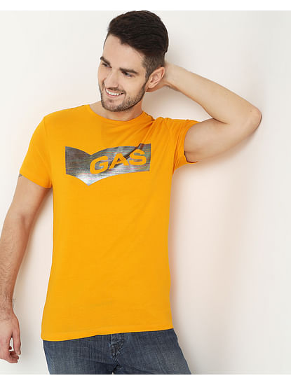 Men's Scuba Holo Yellow Crew Neck T-Shirt